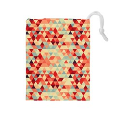 Modern Hipster Triangle Pattern Red Blue Beige Drawstring Pouches (large)  by EDDArt