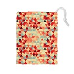 Modern Hipster Triangle Pattern Red Blue Beige Drawstring Pouches (Large)