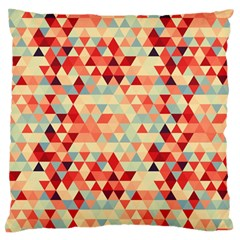 Modern Hipster Triangle Pattern Red Blue Beige Large Flano Cushion Case (one Side) by EDDArt