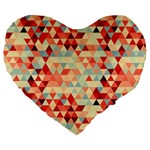 Modern Hipster Triangle Pattern Red Blue Beige Large 19  Premium Flano Heart Shape Cushions