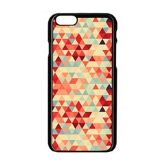 Modern Hipster Triangle Pattern Red Blue Beige Apple Iphone 6/6s Black Enamel Case by EDDArt