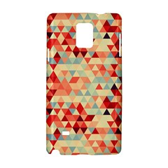 Modern Hipster Triangle Pattern Red Blue Beige Samsung Galaxy Note 4 Hardshell Case by EDDArt