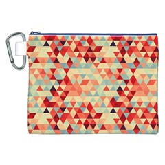 Modern Hipster Triangle Pattern Red Blue Beige Canvas Cosmetic Bag (xxl) by EDDArt