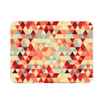 Modern Hipster Triangle Pattern Red Blue Beige Double Sided Flano Blanket (Mini)  35 x27 Blanket Front
