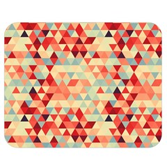 Modern Hipster Triangle Pattern Red Blue Beige Double Sided Flano Blanket (medium)  by EDDArt