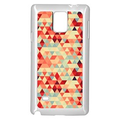 Modern Hipster Triangle Pattern Red Blue Beige Samsung Galaxy Note 4 Case (white)