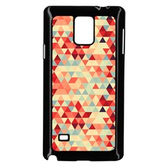 Modern Hipster Triangle Pattern Red Blue Beige Samsung Galaxy Note 4 Case (black) by EDDArt