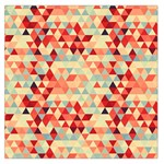 Modern Hipster Triangle Pattern Red Blue Beige Large Satin Scarf (Square) Front