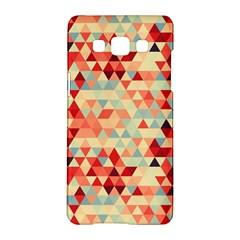 Modern Hipster Triangle Pattern Red Blue Beige Samsung Galaxy A5 Hardshell Case  by EDDArt