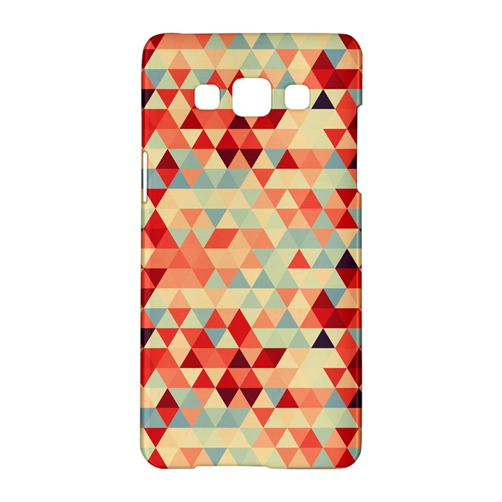 Modern Hipster Triangle Pattern Red Blue Beige Samsung Galaxy A5 Hardshell Case