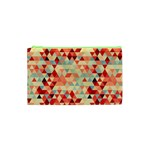 Modern Hipster Triangle Pattern Red Blue Beige Cosmetic Bag (XS) Front