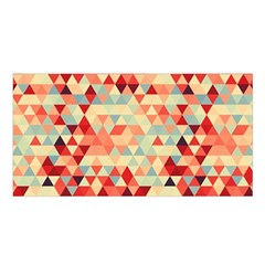 Modern Hipster Triangle Pattern Red Blue Beige Satin Shawl