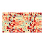 Modern Hipster Triangle Pattern Red Blue Beige Satin Wrap Front