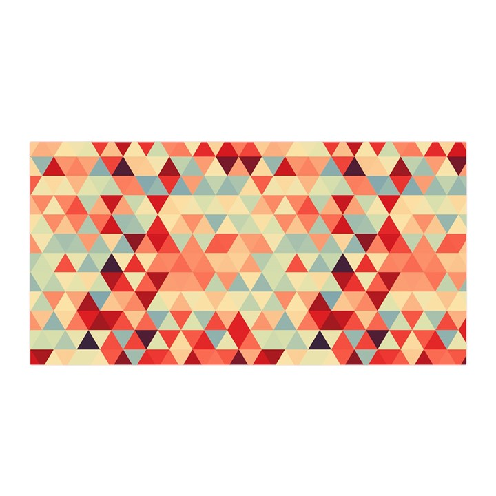 Modern Hipster Triangle Pattern Red Blue Beige Satin Wrap