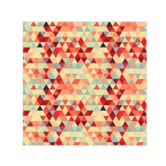 Modern Hipster Triangle Pattern Red Blue Beige Small Satin Scarf (square)