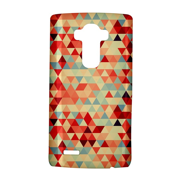 Modern Hipster Triangle Pattern Red Blue Beige LG G4 Hardshell Case