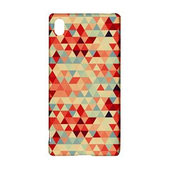 Modern Hipster Triangle Pattern Red Blue Beige Sony Xperia Z3+ by EDDArt