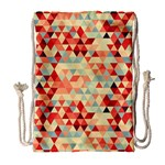 Modern Hipster Triangle Pattern Red Blue Beige Drawstring Bag (Large) Front