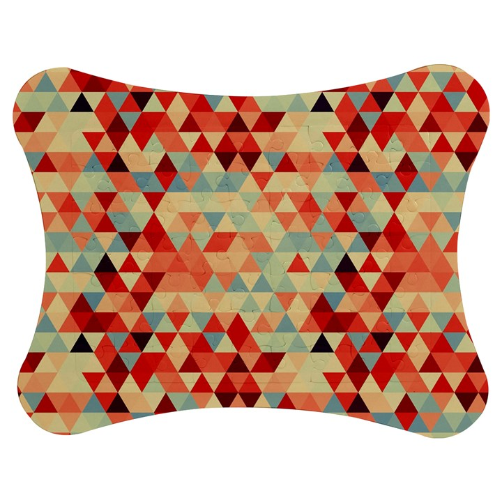 Modern Hipster Triangle Pattern Red Blue Beige Jigsaw Puzzle Photo Stand (Bow)