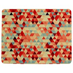 Modern Hipster Triangle Pattern Red Blue Beige Jigsaw Puzzle Photo Stand (rectangular) by EDDArt
