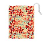 Modern Hipster Triangle Pattern Red Blue Beige Drawstring Pouches (Extra Large) Front