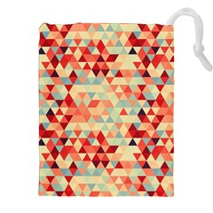 Modern Hipster Triangle Pattern Red Blue Beige Drawstring Pouches (xxl) by EDDArt
