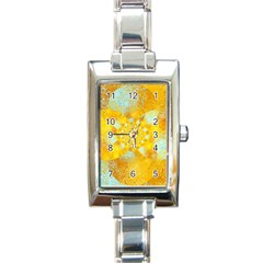 Gold Blue Abstract Blossom Rectangle Italian Charm Watch by designworld65