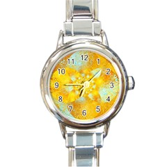 Gold Blue Abstract Blossom Round Italian Charm Watch by designworld65