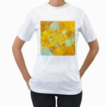 Gold Blue Abstract Blossom Women s T-Shirt (White) (Two Sided)