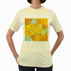 Gold Blue Abstract Blossom Women s Yellow T Shirt