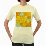 Gold Blue Abstract Blossom Women s Yellow T-Shirt Front