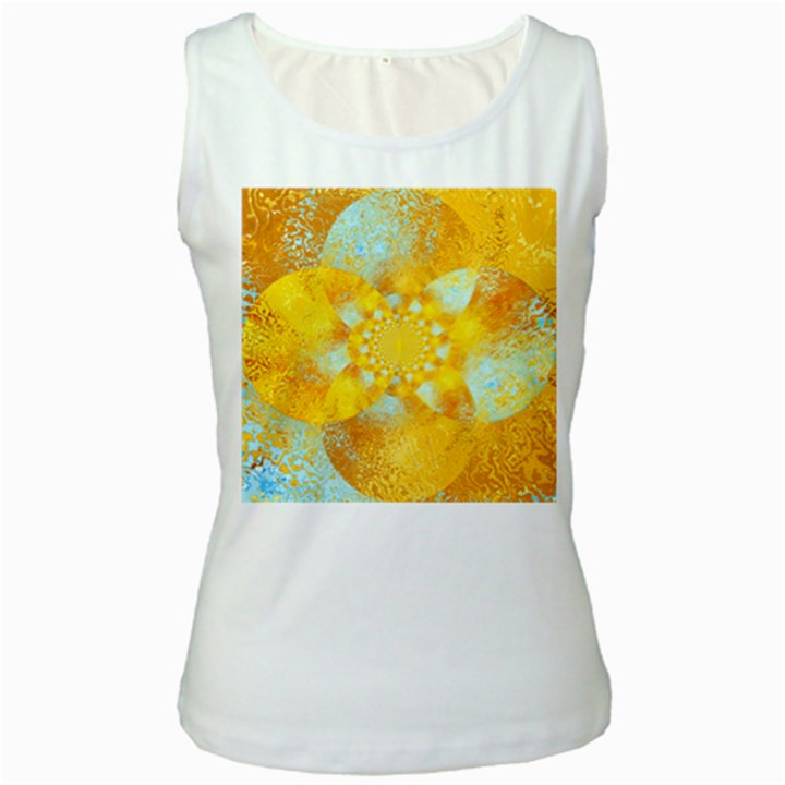Gold Blue Abstract Blossom Women s White Tank Top