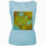 Gold Blue Abstract Blossom Women s Baby Blue Tank Top Front