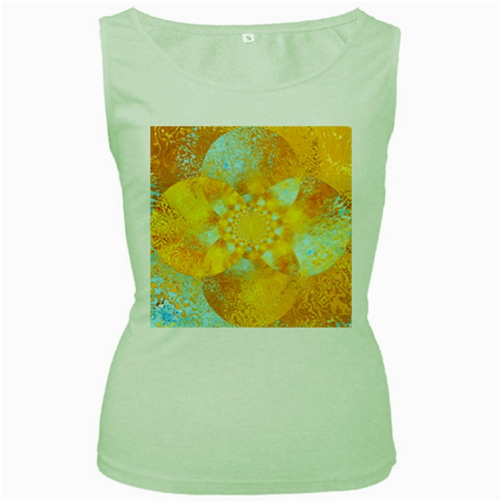 Gold Blue Abstract Blossom Women s Green Tank Top