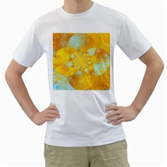 Gold Blue Abstract Blossom Men s T Shirt (white) (two Sided)
