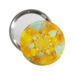 Gold Blue Abstract Blossom 2.25  Handbag Mirrors