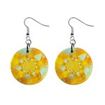 Gold Blue Abstract Blossom Mini Button Earrings Front