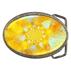 Gold Blue Abstract Blossom Belt Buckles by designworld65