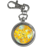 Gold Blue Abstract Blossom Key Chain Watches Front