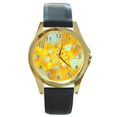 Gold Blue Abstract Blossom Round Gold Metal Watch by designworld65