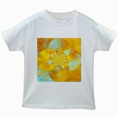 Gold Blue Abstract Blossom Kids White T Shirts by designworld65