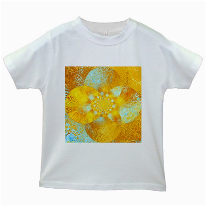 Gold Blue Abstract Blossom Kids White T-Shirts