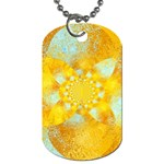 Gold Blue Abstract Blossom Dog Tag (One Side) Front