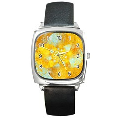 Gold Blue Abstract Blossom Square Metal Watch by designworld65