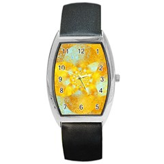 Gold Blue Abstract Blossom Barrel Style Metal Watch by designworld65
