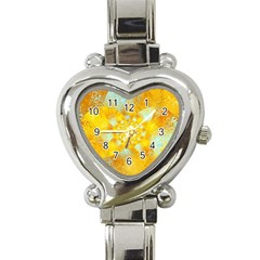 Gold Blue Abstract Blossom Heart Italian Charm Watch