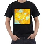 Gold Blue Abstract Blossom Men s T-Shirt (Black) (Two Sided)