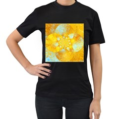 Gold Blue Abstract Blossom Women s T Shirt (black) (two Sided)