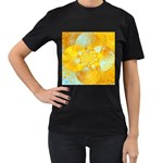 Gold Blue Abstract Blossom Women s T-Shirt (Black) (Two Sided) Front