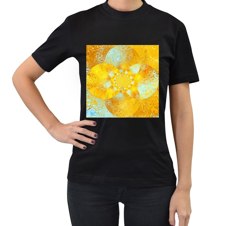 Gold Blue Abstract Blossom Women s T-Shirt (Black) (Two Sided)